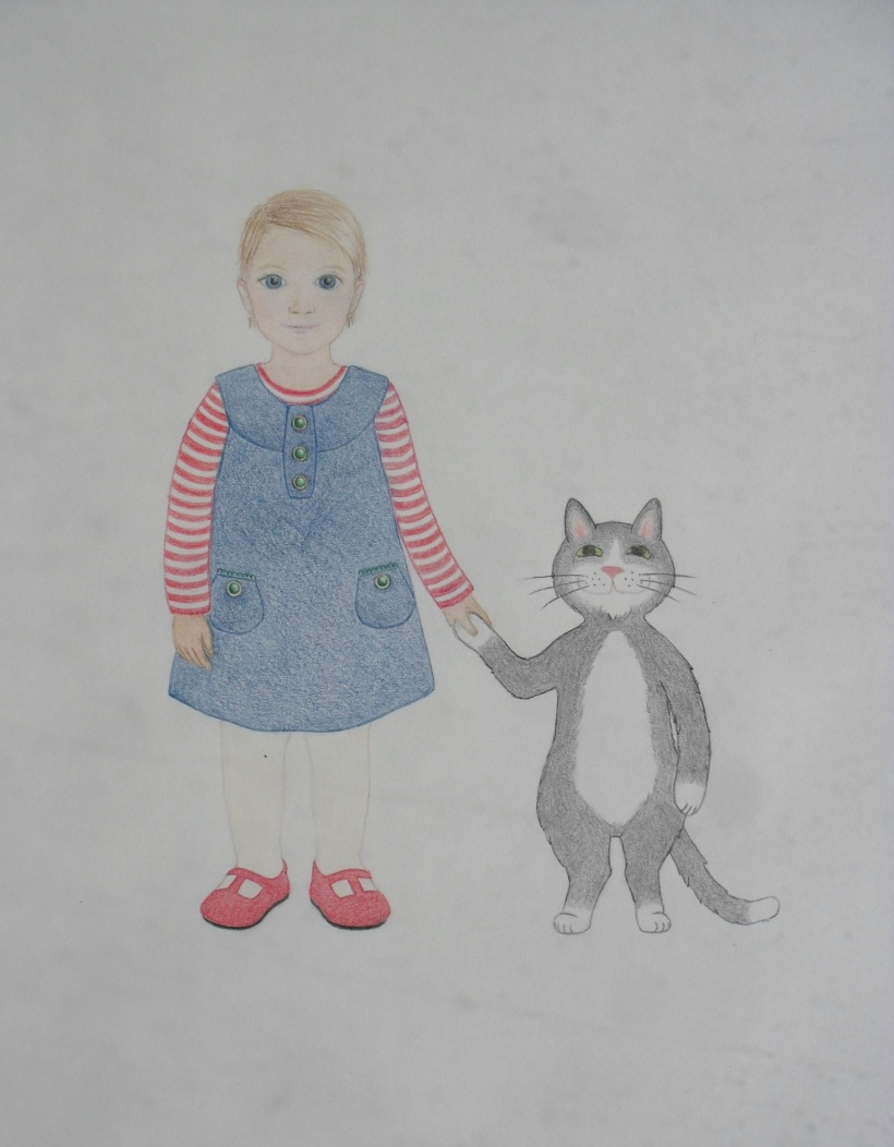 Girl with a cat drawing