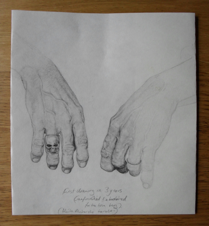Sketch of Keith Richards' hands