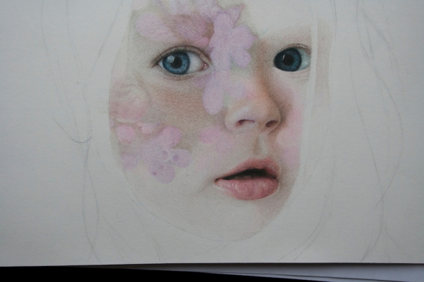 Colored pencil drawing of a girl with flowers.